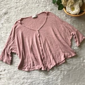 Gaze Pink Thermal Knit Button Front Top